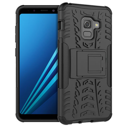 Dual Layer Rugged Tough Case for Samsung Galaxy A8 (2018) - Black